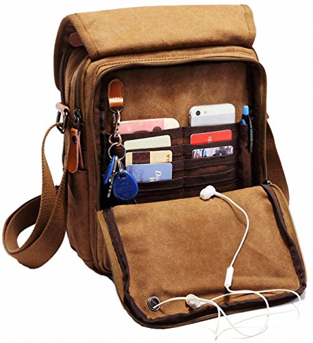 Kenox Durable Vintage Multifunction Canvas Shoulder Bag Business Messenger Bag Ipad Bag Tote Bag Satchel Bag (Brown)