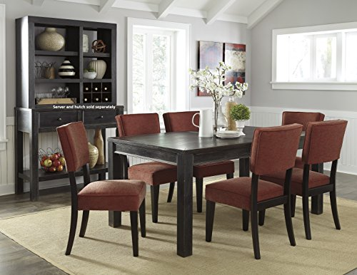Gavellestong Vintage Casual Black Rectangular Dining Room Table w/ 6 Brick Side Chair