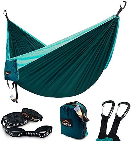 AnorTrek Camping Hammock, Lightweight Portable Single Double Hammock with Tree Straps 10 FT 18 1 Loops , Parachute Hammock for Camping, Hiking, Garden