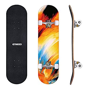ENKEEO 32″ Skateboard Complete 9 Ply Maple Wood Double Kick Concave Skateboards, ABEC-9 Tricks Stake Board for Beginners and Pro
