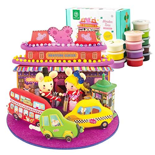 Robud Theme Clay Modeling Dough with Tool Sets,3D Wooden Colorful Clay Puzzle,No-Toxic Ultra Light Air-Dry Moulding Craft Clay,12 Cans Molding Magic Clay,DIY Crafts Clay Set,Best Gift (Modern Era)