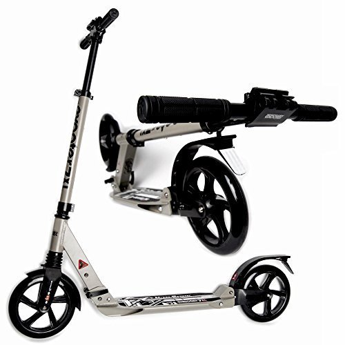 Exooter M1050gr Foldable Teen and Adult Cruiser Kick Scooter with Double Suspension in Gray. by EXOOTER