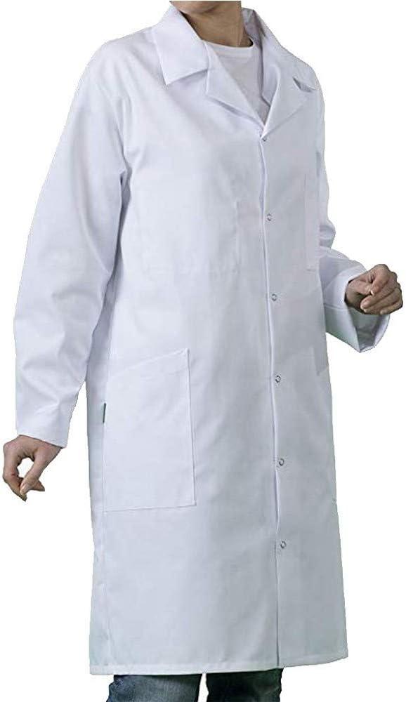 Hombre Bata de Laboratorio Blanco Uniformes de Trabajo Mejora Blanca Camisa Casual Manga Larga con Cuello en V con Bolsillo (M, Blanco): Amazon.es: Ropa y accesorios