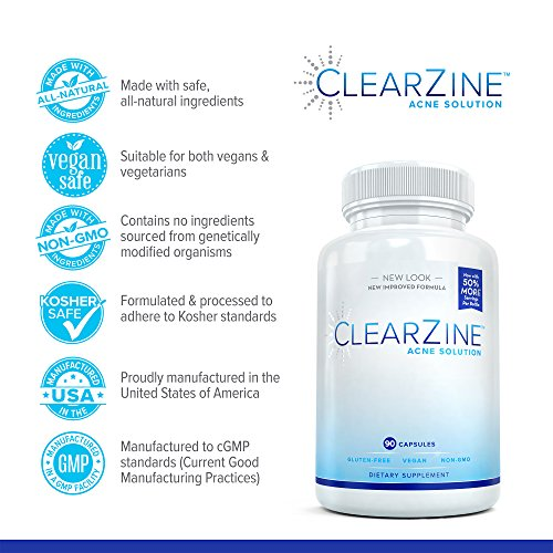ClearZine Acne Solution - Best Natural Acne Pills for Rapid Acne Treatment and Radiant Skin | Reduce Skin Redness and Breakouts for Clear Skin with Pantothenic Acid and Zinc, 90 Capsules (2 Bottles)