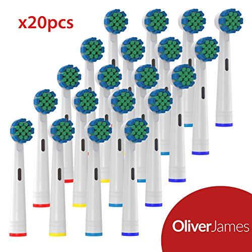 Oliver James Replacement Toothbrush Heads | 20 Pack Brush Heads Compatible with Oral B Electric Toothbrushes | Removes Plaque and Decreases Gingivitis