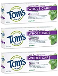 Tom's Of Maine Whole Care Anticavity Toothpaste, Spearmint, 4.0 Ounce (Pack of 3)