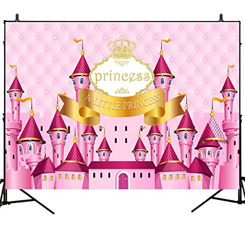 Mehofoto Birthday Photography Backdrop Princess Dream Pink Castle
