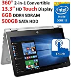 2017 New HP Pavilion High Performance x360 Convertible Touch-Screen Laptop, 13.3†HD Display, Intel Core i3-6100U Processor, 6GB RAM, 500GB HDD, 802.11AC Wi-Fi, Webcam, Bluetooth, HDMI, Windows 10