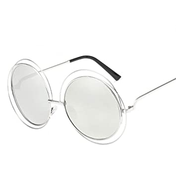QDE Gafas de sol Gafas De Sol Redondas para Mujer Moda Hue ...