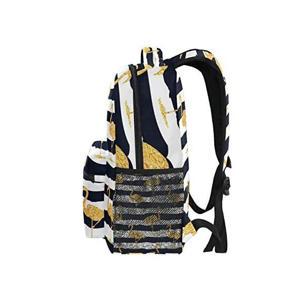 DXG1 - Zaino a righe color oro con fenicottero, da donna, per ragazzo, per scuola, scuola, viaggi, università, grande… 4 spesavip