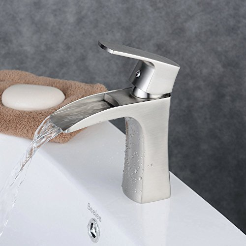 7 Faucet Finishes For Fabulous Bathrooms: Beelee BL210D-N Single Handle Single Hole Waterfall