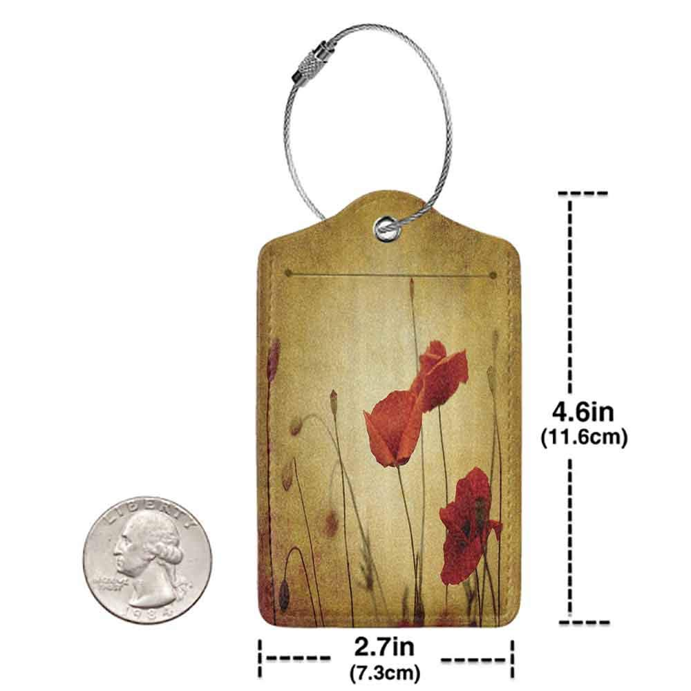 Durable luggage tag Poppy Decor Poppies and Flower Buds on Ambient Dark Grunge Background with Retro Effects Bohemian Unisex Mustard Vermilion W2.7 x L4.6