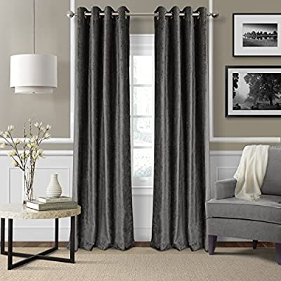 "Elrene Home Fashions 26865796292 Blackout Energy Efficient Room Darkening Grommet Velvet Window Curtain Drape Regal Solid Panel, 52"" x 95"", Smoke, 52"" W x 95"" L (1 - Easy to maintain. Machine washable. Steam clean curtains occasionally to refresh the fabric and keep them looking crisp Good to go: wrinkle Free and easy to hang. These panels are all ready for you to put up right away. Grommet can fit up to 1.5 in. Rod Light filtration level: the constructions is woven with specialized yarns to block out light - living-room-soft-furnishings, living-room, draperies-curtains-shades - 510FeHVOYKL. SS400  -"