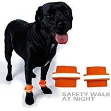 1 Pair Protector Extra Supportive Knee Brace Support Pads Dog Compression Wrap With Fluorescent Wristbands Pets Safety Rear Leg Hock Joint Wrap Protects, Yellow , Orange - Size S M L (Medium, Orange)