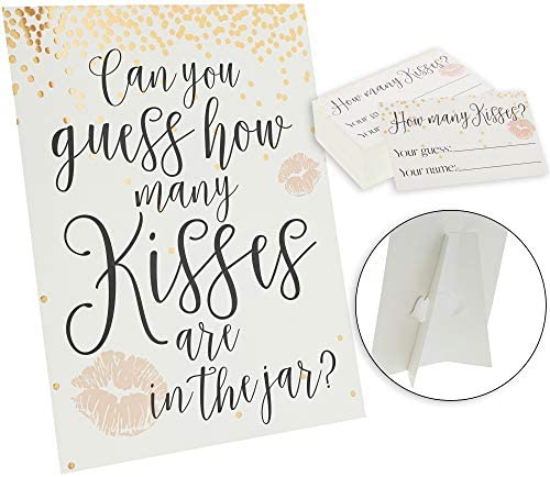 Sparkle and Bash Bridal Shower Game with 1 Sign and 60 Cards, Guess How Many Kisses