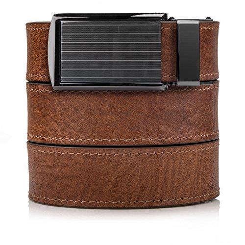 Pinstripe Buckle (Top Grain Walnut Leather Belt with Pinstripe Buckle)