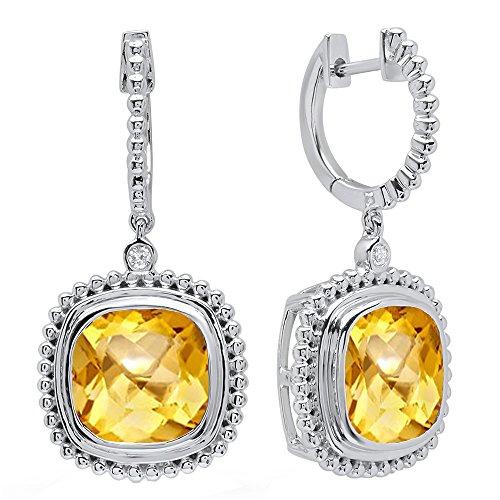 Diamond Citrine And Earrings (10K White Gold 10 MM Cushion Citrine & Round Diamond Ladies Dangling Drop Earrings)
