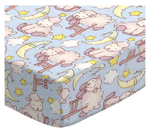 SheetWorld Fitted Cradle Sheet - Baby Lambs Blue - Made In USA