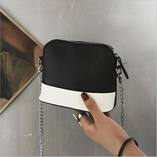 Totalizador Bolso Femenino del Bolso de la Concha del Color del Golpe Bolso del Hombro de la Manera Bolso de Hombro del Mensajero (tamaño: los 16 * 7.5 * 13cm) (Color : Black) Black