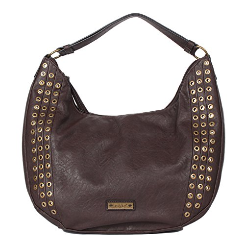 Chocolate Leather Zip Hobo Bag - 1