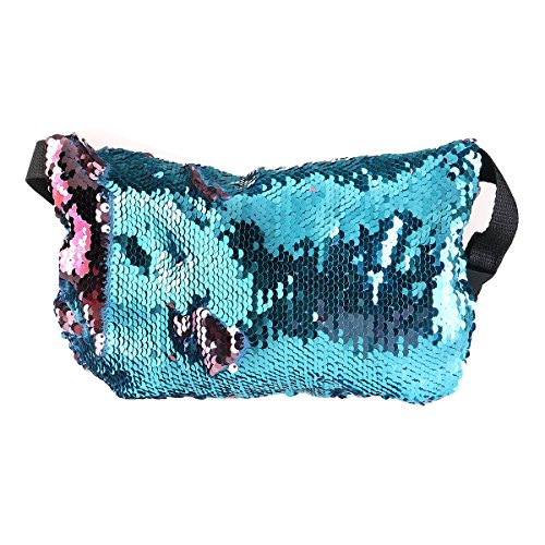 OULII Sports Bag Casual Bag Waist Pack Waist Bag Double Color Sequins Valentine's Day gift for women girls (Blue + Pink)