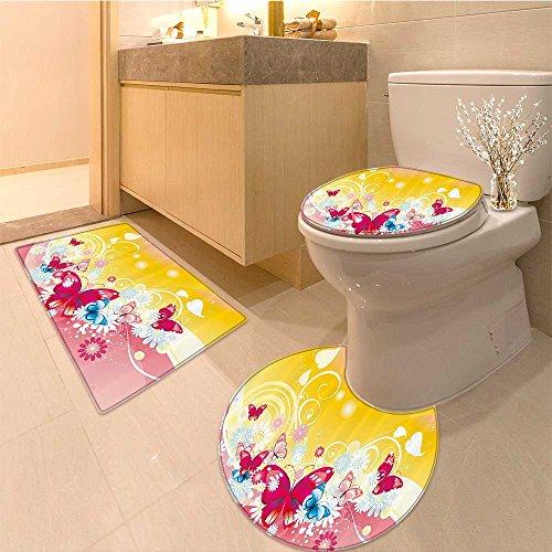 3 Piece Extended bath mat set Spira Sugar Candy Sweets Lolly Pops Dessert Fun Kids Nursery Theme Fabric Set with H Very Absorbent Bathroom Bath Mat Contour (Contour Dessert)