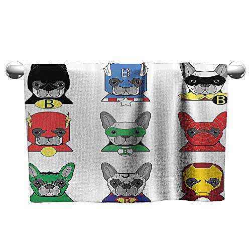 DUCKIL Cute Hand Towels Superhero Bulldog Superheroes Fun Cartoon Puppies in Disguise Costume Dogs with Masks Artprint Bath Sheet 14 x 14 inch Multicolor