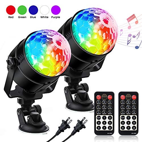 Sound Activated Party Lights SOLMORE Disco Ball Dj Lights with Remote Control 7 Color Modes Stage Lights for Club Party Gift Kids Birthday Wedding Home Karaoke Dance [2-Pack]