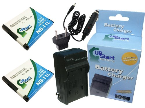 2 Pack - Replacement for NB-11L Battery + Charger with Car & EU Adapter (680mah 3.6v Li-ion) for Canon Camera - Compatible with Canon ELPH 160 Canon PowerShot ELPH 110 - Mah 680 Replacement