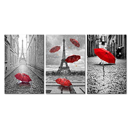 iHAPPYWALL Hello Artwork – Contemporary Art Black and White Eiffel Tower with Red Unbrella on Paris Street Painting Romantic Picture Framed Artwork Prints Canvas Set of 3 Ready to Hang