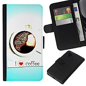 KLONGSHOP // Tirón de la caja Cartera de cuero con ranuras para tarjetas - Diseño Café del amor I - LG Nexus 5 D820 D821 //