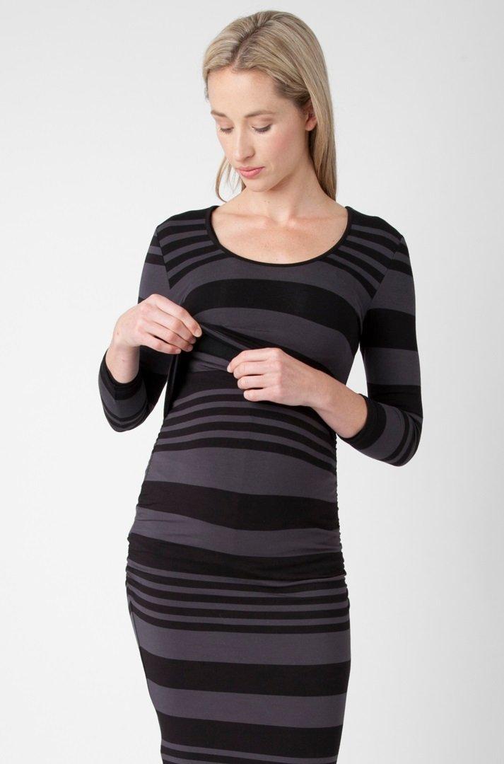 Ripe Maternity Women's Maternity Striped Nursing Tube Dress, Soil/Smoke, Small by Ripe (Image #3)