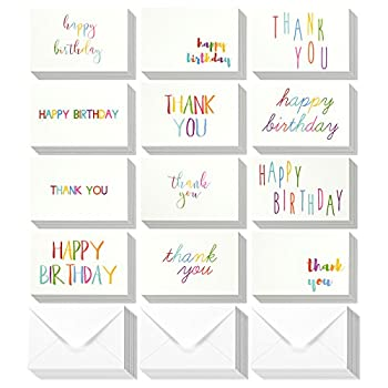 144 Assorted Pack Happy Birthday Greeting Cards and Thank You Note Cards Bulk Box Set - Blank on the Inside - 12 Colorful Rainbow Font Designs - Variety Assortment Envelopes Included 4 x 6 Inches