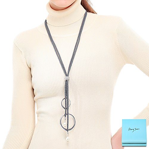Long Statement Necklace for Women - Grey Sweater Necklace With Pearl Circle Pendant Women Long Leather Y Necklace Clothing Accessories Female Fashion Jewelry By - Designer Leather Necklace