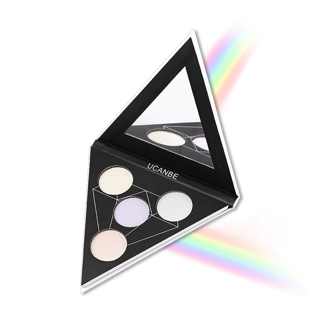 ROMANTICBEAR 4 Color Triangle Highlighter Palette Shimmer Illuminating Powder Makeup Satin Glow Kit - Revamp Your Face Eye Lip Color Highlighting Finish Alchemist Holographic Palette (A) ROMANTIC BEAR