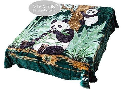 VIVALON Ultra Silky Soft Heavy Duty Quality Korean Mink Printed Panda Green Reversible Blanket King (Green Reversible Blanket)