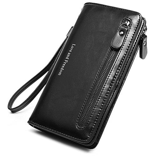 Women Wallet Wristlet Leather Ladies Long Bifold Clutch Checkbook Credit Card Holder Organizer Purse Black