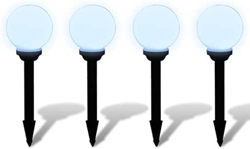 Anself Lámpara Solar de Jardín en Forma de Bola con LED, 15 cm, 4 unidades