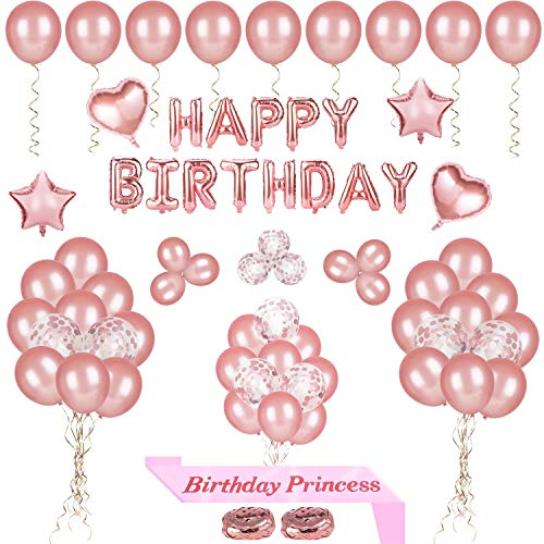 Phogary 68 Pcs Happy Birthday Party Balloons Decoration, Rose Gold Happy Birthday Balloon Banner, Pre-Filled Confetti Balloons, Latex Balloons And Birthday Princess Sash for Women Girls Birthday -