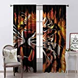 Gloria Johnson Safari Heat Insulation Curtain Fire Power Tiger Flames Hunter Forest King Beast Stripes Furry Large Animal for Living Room or Bedroom W52 x L54 Inch Orange Black White