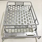 Jack-Store 1/10 Roof Luggage Rack with LED Light Bar for CC01 SCX10 Axial Wrangler Tamiya Type D Silver