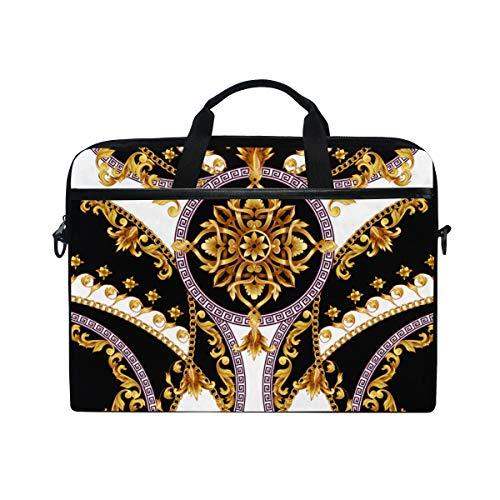 TARTINY 15-15.4 Inch Laptop Bag Design Tshirt Golden Baroque Elements Shoulder Messenger Bags Sleeve Case Tablet Briefcase with Handle Strap
