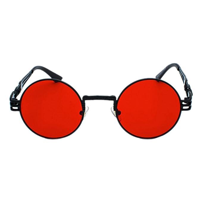 Deylaying Gafas de Sol Polarizadas,Steampunk Retro Redondos Espejados Gafas de sol Conducir Viajes Eyewear