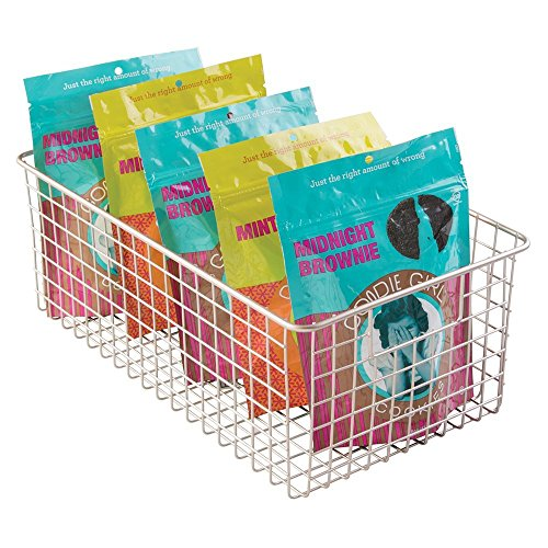 mDesign Wire Storage Basket for Kitchen, Pantry, Cabinets - Large, Deep, Satin