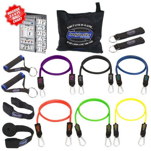 Pilates Accessories NEW Bodylastics Heavy Duty Resistance Bands 14 Pcs Fitness Exercise Tubes Set by Pilates Equipment Straps (Image #5)