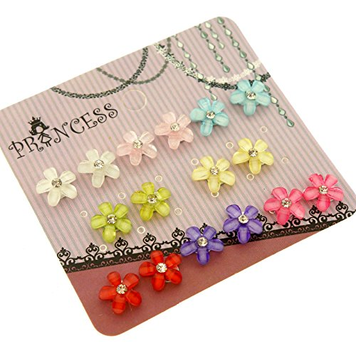 Color Flower Beads with Clear Crystal Magnetic Stud Earrings for Teen Girls Womens, Pack of 8 Pairs