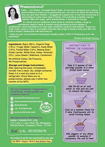Early Foods - Organic Sattu Maavu - Multi-grain Porridge mix 200g - Indian Baby Foods, Vegan Baby Food, 100% Plant Based by EARLY FOODS (Image #6)