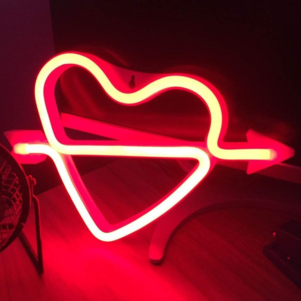 Neon Heart Sign The Arrow of Love Led Neon Lights up Sign Decorative Neon Wall Light for Girls Room(Red Cupid)