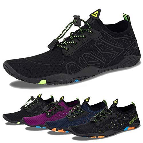 Water Shoes Mens Womens Beach Swim Shoes Quick-Dry Aqua Socks Pool Shoes for Surf Yoga Water Aerobics (H-Black, 37)