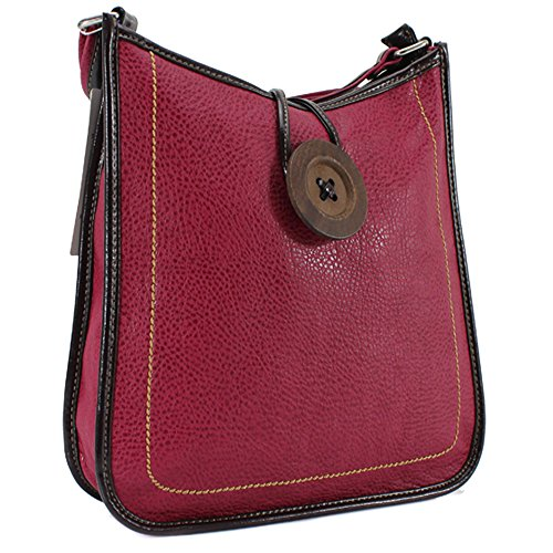 Tote Messenger Bag Ladies Body YDezire Cross Fuchsia Leather Satchel Handbag Faux Women Button Shoulder Womens UCqwP